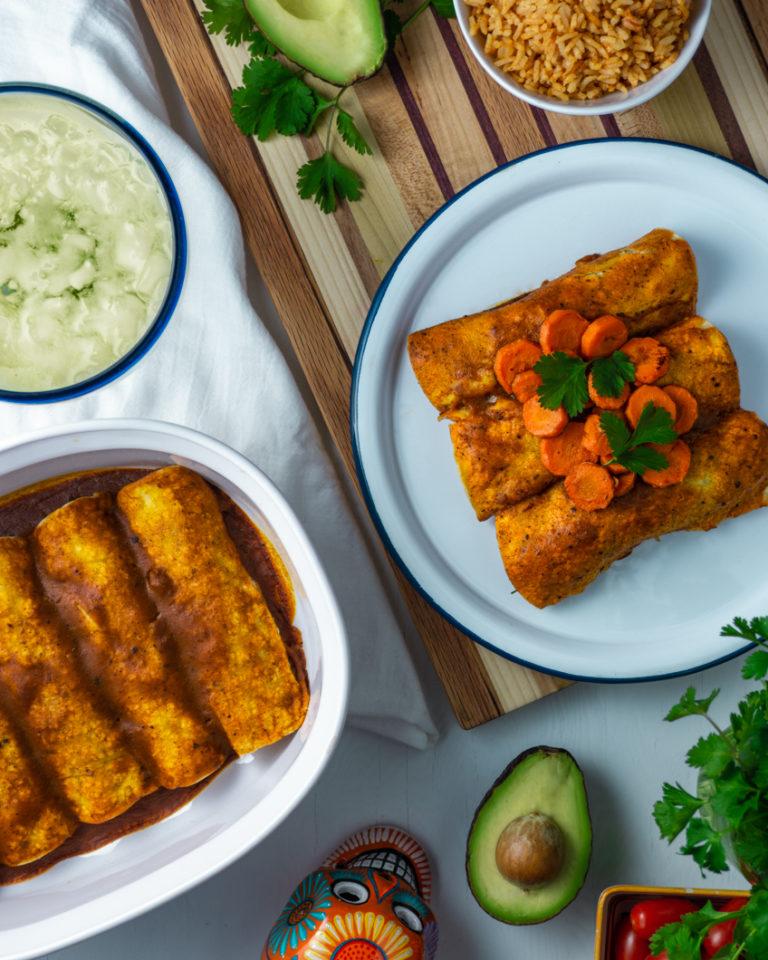 Spinach, Black Bean, & Potato Enchiladas