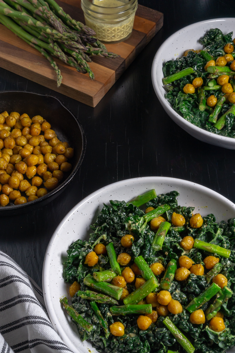 kale, chickpea, and asparagus salad with homemade caesar-like caper dressing