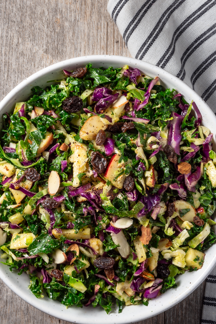 Kale Cabbage Brussels Sprouts Apple Raisin Almond Salad Recipe